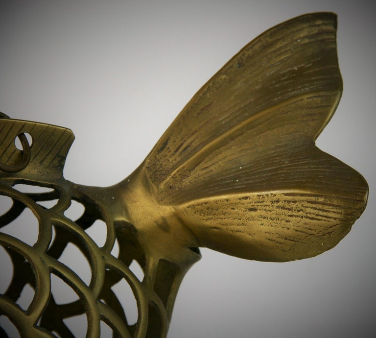 Mid-20th Century Japanese Koi Fish Brass Garden Candle Tea Lantern Sculpture For Sale