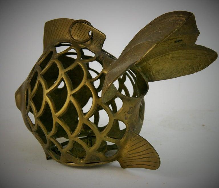Japanese Koi Fish Brass Garden Candle Tea Lantern Sculpture For Sale 1