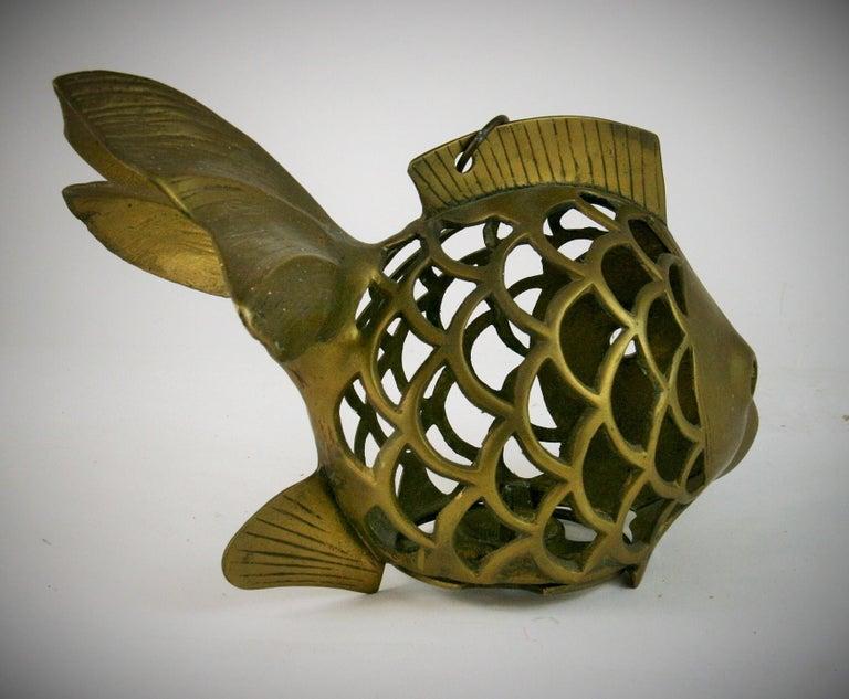 Japanese Koi Fish Brass Garden Candle Tea Lantern Sculpture For Sale 2