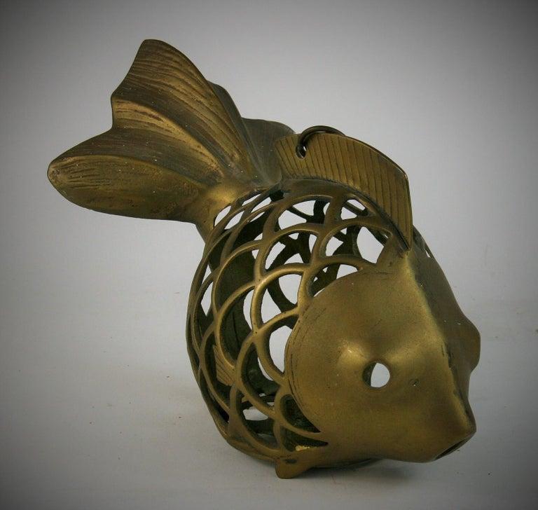 Japanese Koi Fish Brass Garden Candle Tea Lantern Sculpture For Sale 3