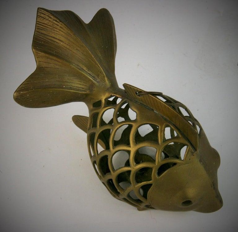 Japanese Koi Fish Brass Garden Candle Tea Lantern Sculpture For Sale 4