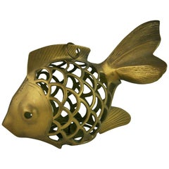 Japanese Koi Fish Brass Garden Candle Tea Lantern Sculpture