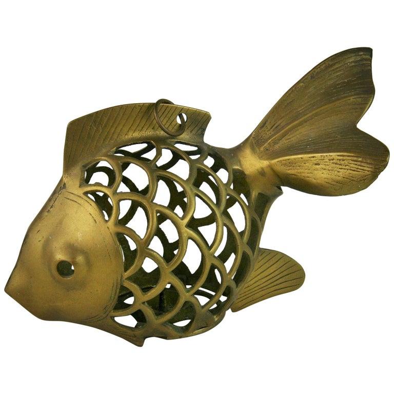 Japanese Koi Fish Brass Garden Candle Tea Lantern Sculpture For Sale