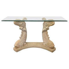 Japanese Koi Fish Sculptural Console Table