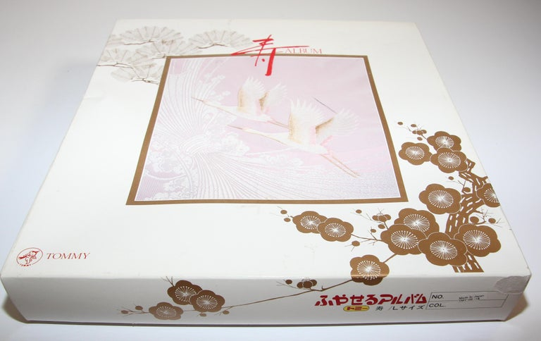 Japanese Kokuyo Silk Embroidery Vintage Wedding Photo Album For Sale 6