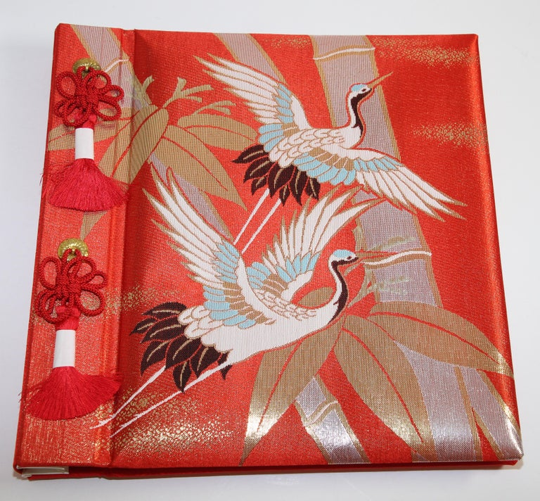 Japanese Kokuyo Silk Embroidery Vintage Wedding Photo Album For Sale 8
