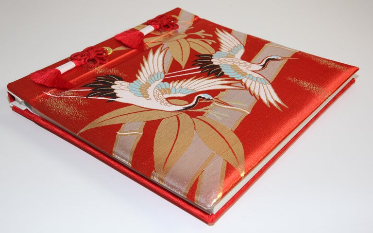 Hand-Crafted Japanese Kokuyo Silk Embroidery Vintage Wedding Photo Album For Sale