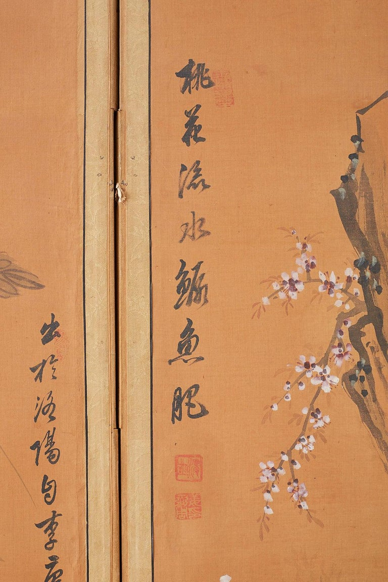 Japanese Korean Meiji Period Five-Panel Screen For Sale 9