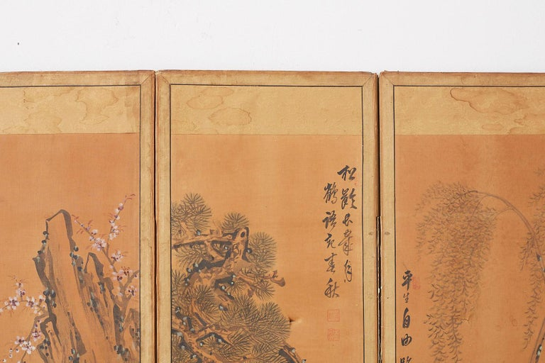 Japanese Korean Meiji Period Five-Panel Screen For Sale 13