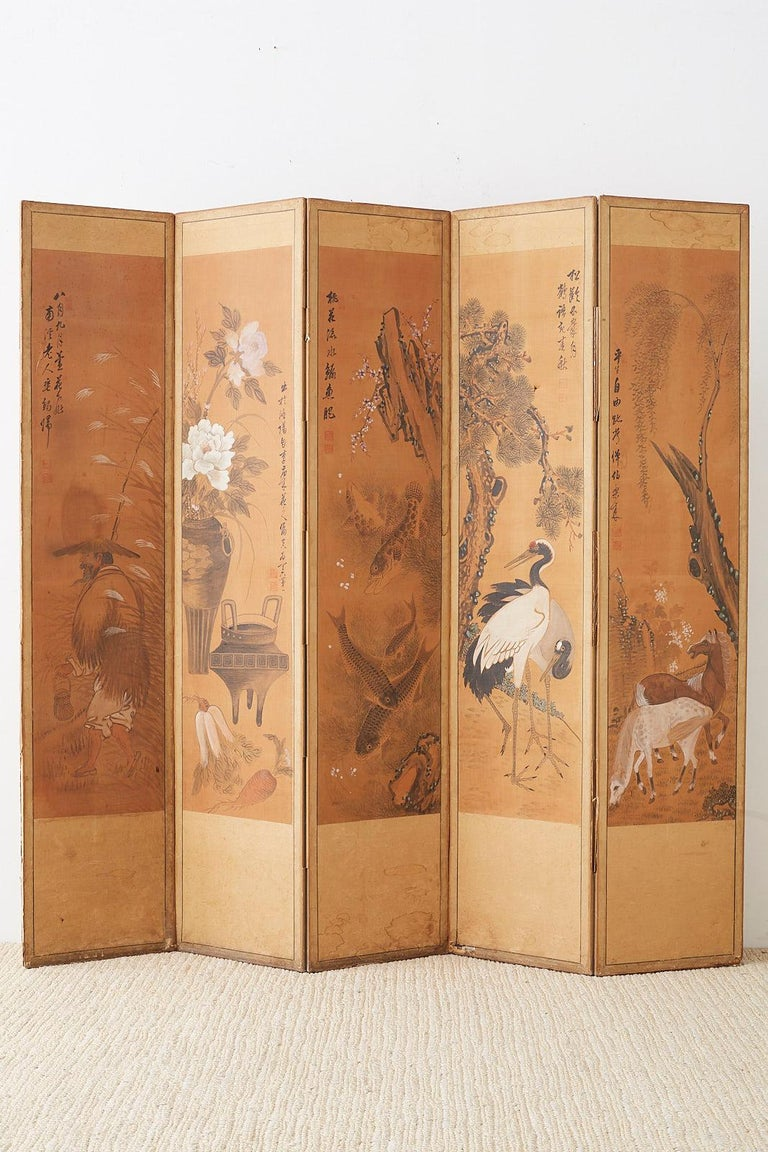 Japanese Korean Meiji Period Five-Panel Screen For Sale 15