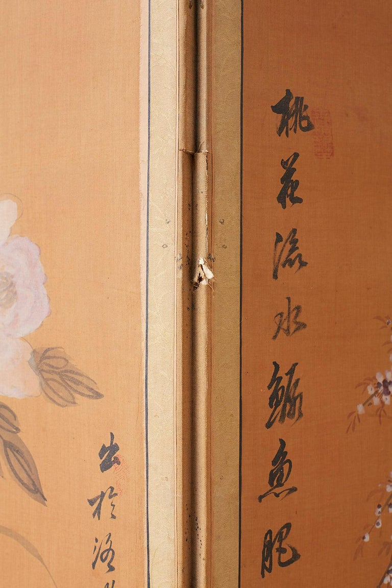 Japanese Korean Meiji Period Five-Panel Screen For Sale 16