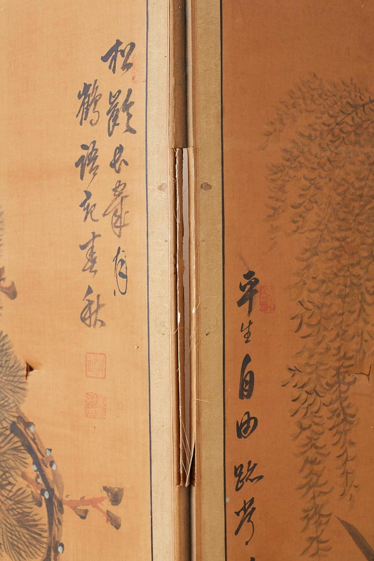 Japanese Korean Meiji Period Five-Panel Screen For Sale 17