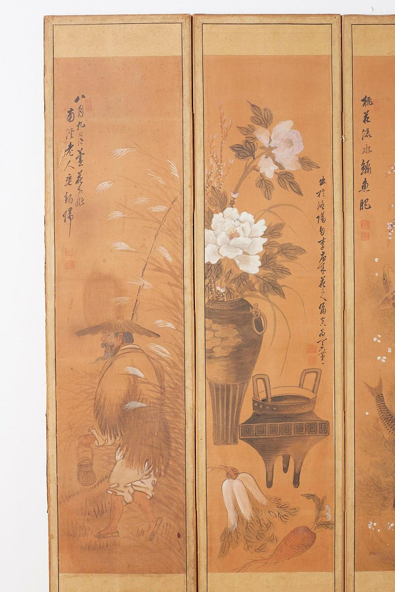 Japanese Korean Meiji Period Five-Panel Screen In Distressed Condition For Sale In Oakland, CA