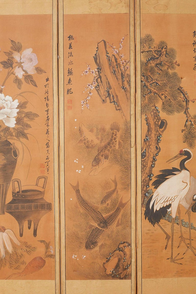 Japanese Korean Meiji Period Five-Panel Screen For Sale 1