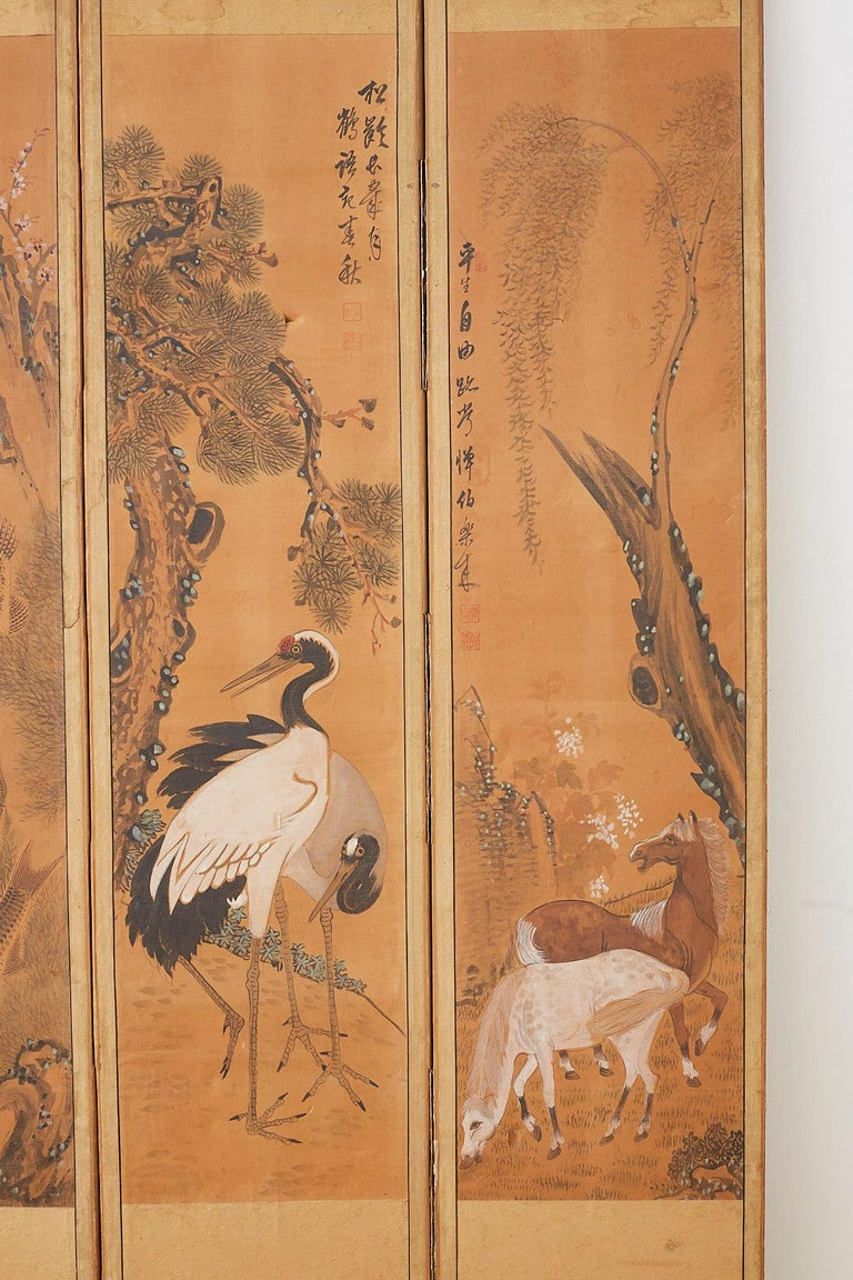 Japanese Korean Meiji Period Five-Panel Screen For Sale 2