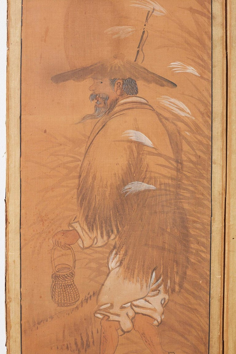 Japanese Korean Meiji Period Five-Panel Screen For Sale 4