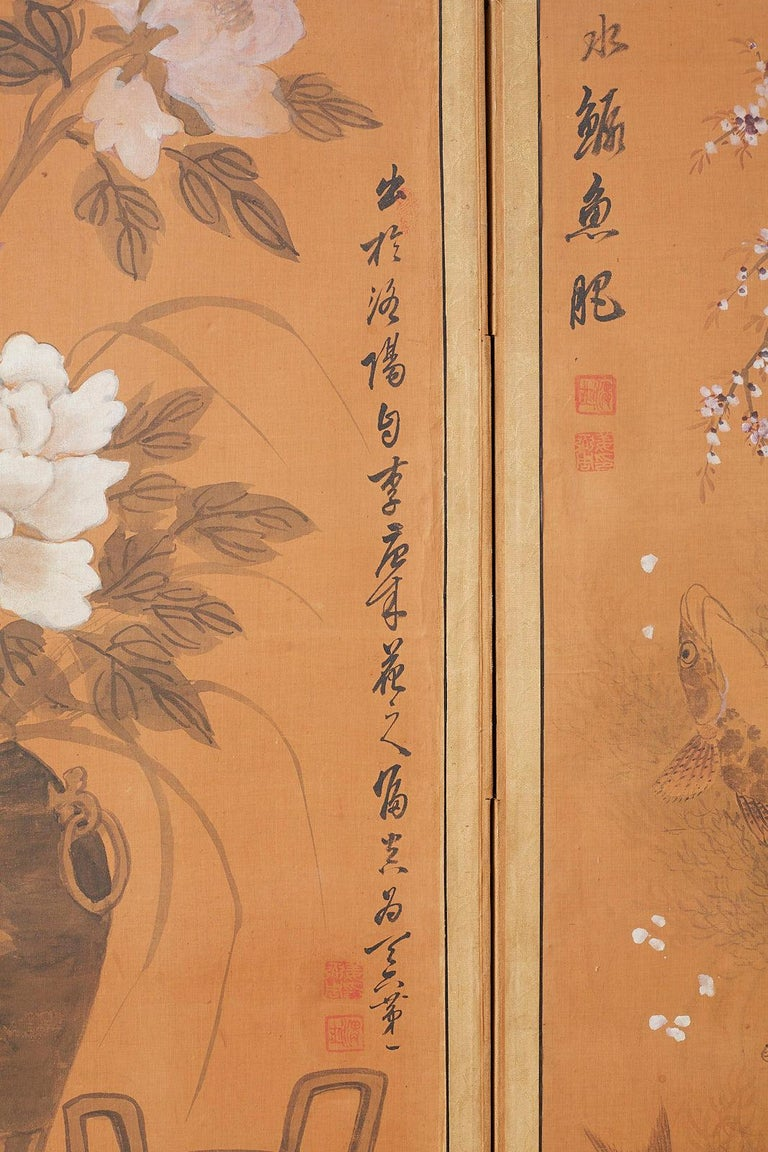 Japanese Korean Meiji Period Five-Panel Screen For Sale 5