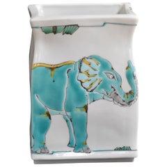 Japanese Kutani Hand-Painted Blue Decorative Porcelain Vase by Master Artist