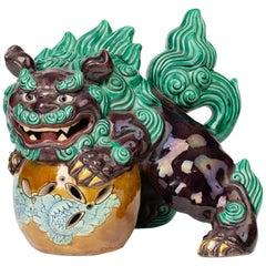 Japanese Kutani Taisho Period Large Pottery Lion Dog and Ball