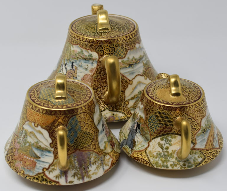 Gilt Japanese Kutani Red Green Gilded Three-Piece Porcelain Tea Service circa 1985 For Sale