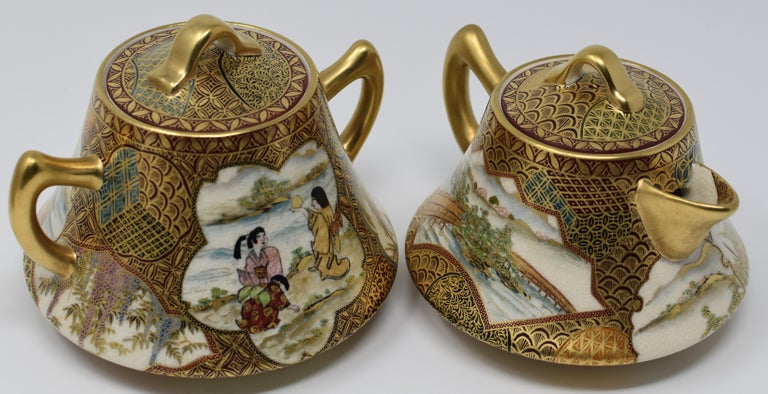 Gold Japanese Kutani Red Green Gilded Three-Piece Porcelain Tea Service circa 1985 For Sale