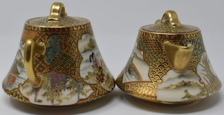Japanese Kutani Red Green Gilded Three-Piece Porcelain Tea Service circa 1985 For Sale 1