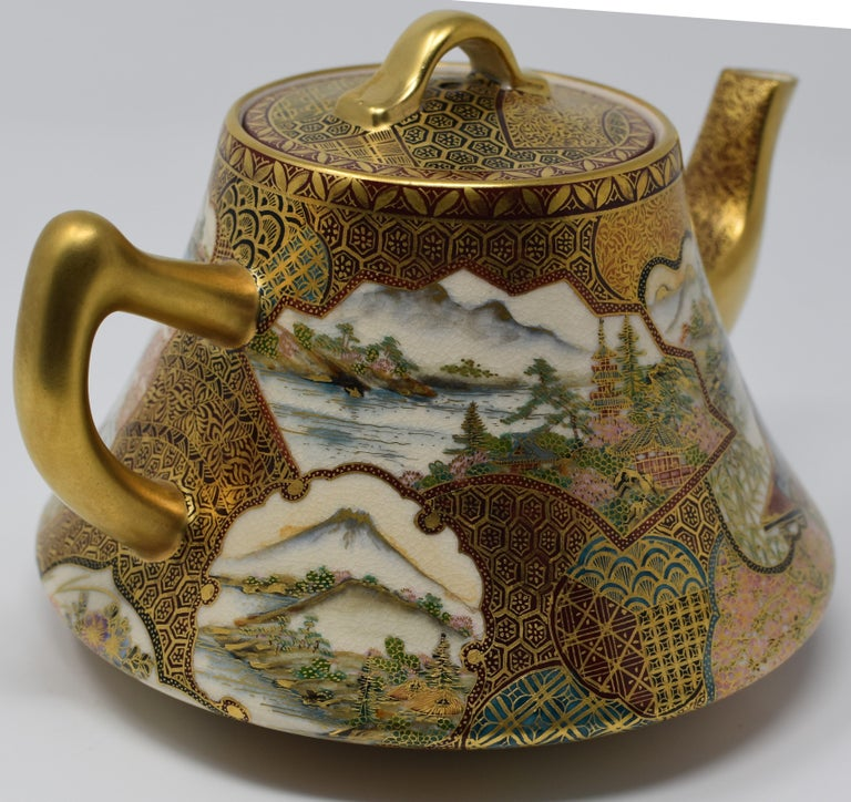 Japanese Kutani Red Green Gilded Three-Piece Porcelain Tea Service circa 1985 For Sale 4