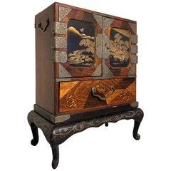 Japanese Lacquer and Marquetry Miniature Tansu, Haribako, Meiji Period