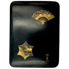 Japanese Lacquer Box, Meiji Period, 19th Century, Gold Maki-e Decoration
