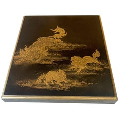 Japanese Lacquer Box with Fine Maki-e Decoration Meiji Period