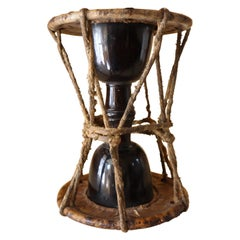 Japanese Lacquer Hourglass Drum 19th or 20th Century Mingei Tsuzumi Taiko Noh