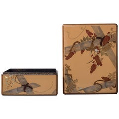 Japanese Lacquer Letter Box with Flowers and Butterfly