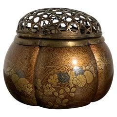 Japanese Lacquer Melon Shaped Incense Burner, Akoda Koro, Edo Period