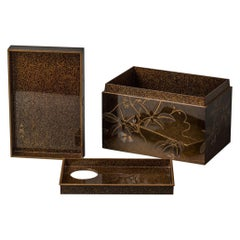 Japanese Lacquer Tea Box 'Chabako' with Flower Design