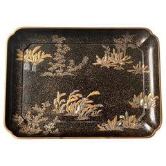 Japanese Lacquer Tray with Maki-e and Inlay Hara Yoyusai Edo Period