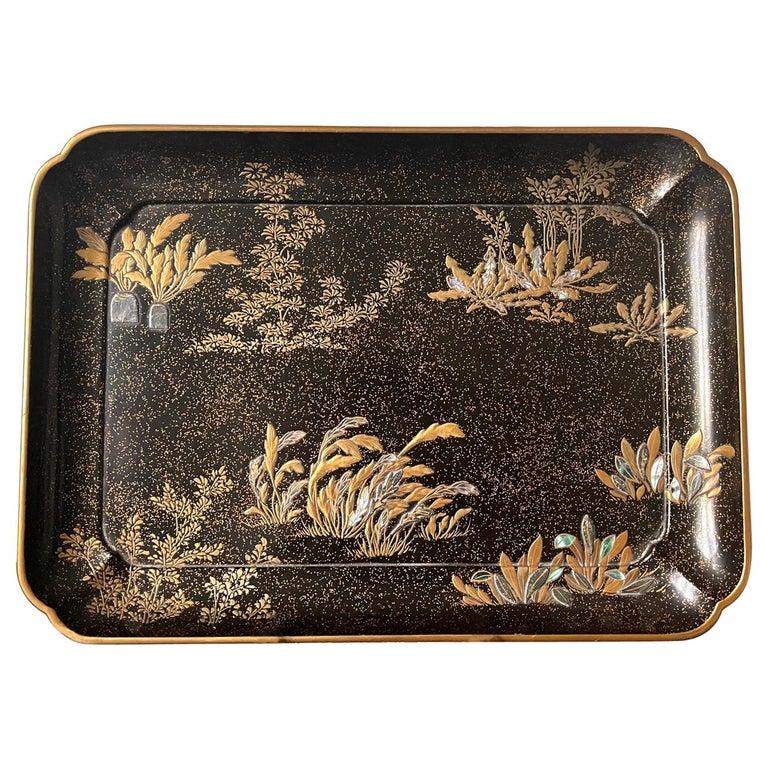Japanese Lacquer Tray with Maki-e and Inlay Hara Yoyusai Edo Period For Sale