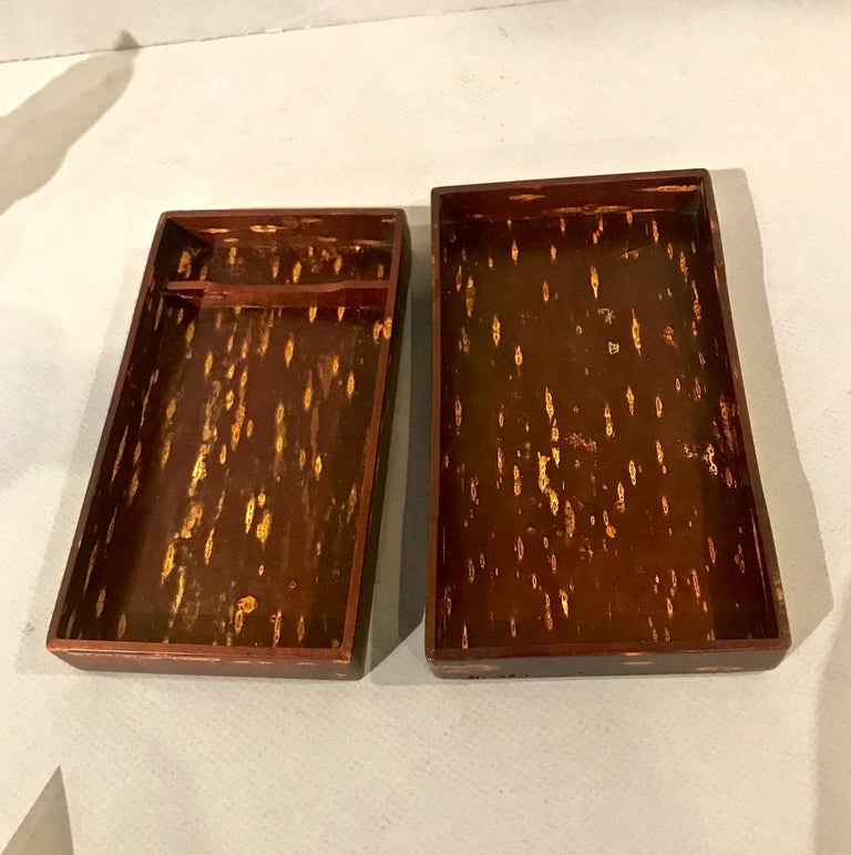 Wood Japanese Lacquer Writing Box For Sale