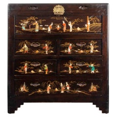 Japanese Lacquered and Hardstone Mounted Chest