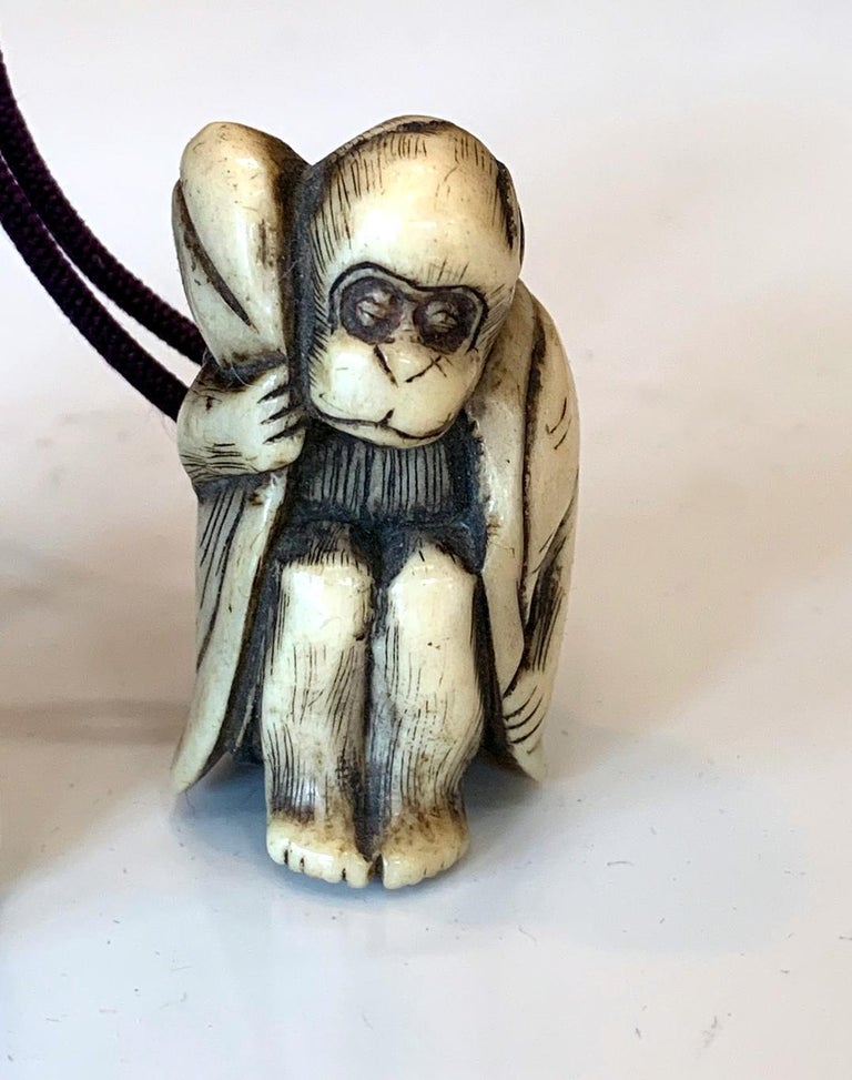 19th Century Japanese Lacquered Inro and Netsuke with Raijin Rinpa School For Sale