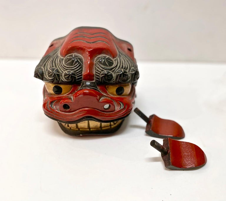 Folk Art Japanese Lacquered Lion Mask For Sale