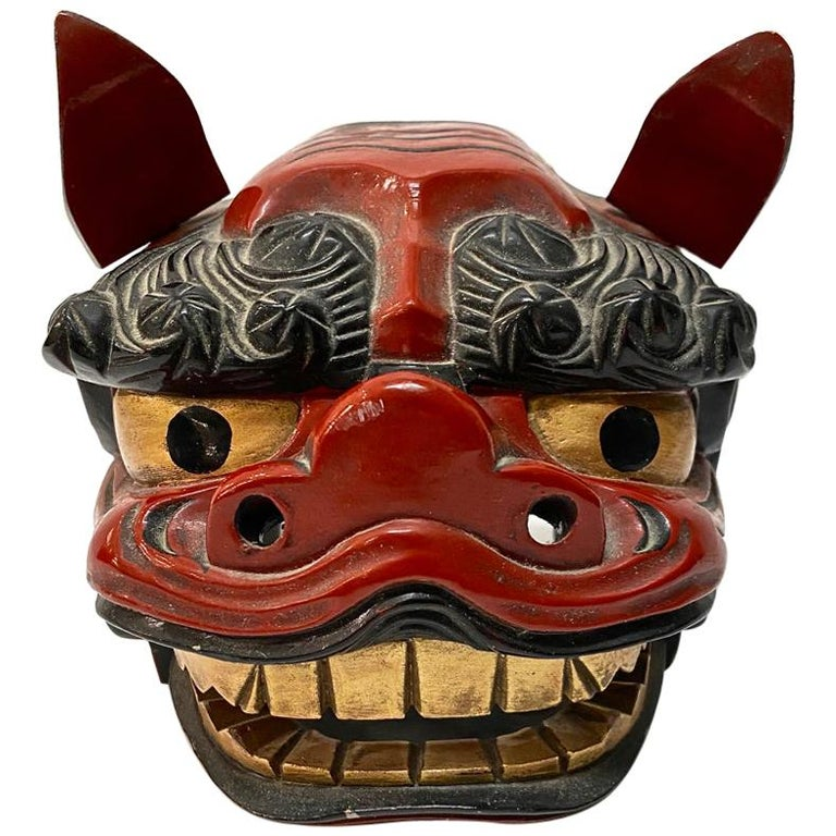 Japanese Lacquered Lion Mask For Sale