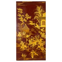 Japanese Lacquered Moriage Panel of Hunting Scene
