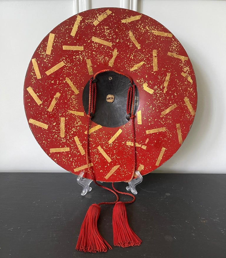 A bespoken Japanese historical hat known as Jinggasa (militant hat) that was worn by samurai in Edo period (1603-1868) circa 18-19th century. There were several subtypes of Jingasa and this is a type called ichimonji gasa or hara gasa (flat type).