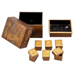 Japanese Lacquered Set of Boxes Tebako