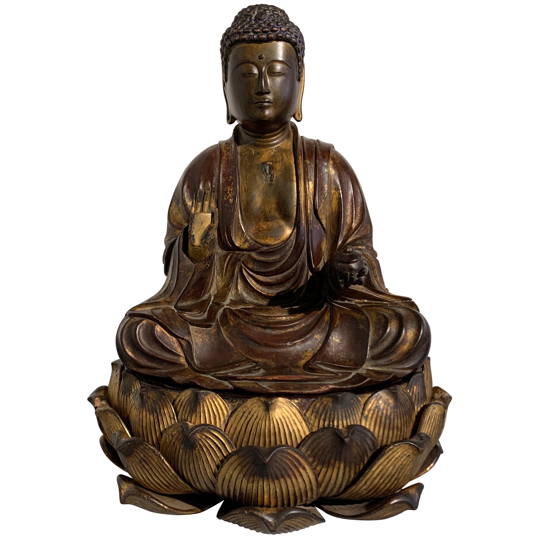 Japanese Lacquered Wood Medicine Buddha, Yakushi Nyorai, Edo Period