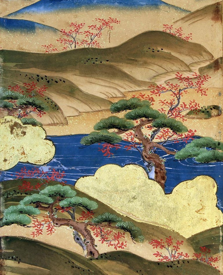 Edo Japanese Landscape of the 19th Century, Small Six Folding Screen Kano School For Sale