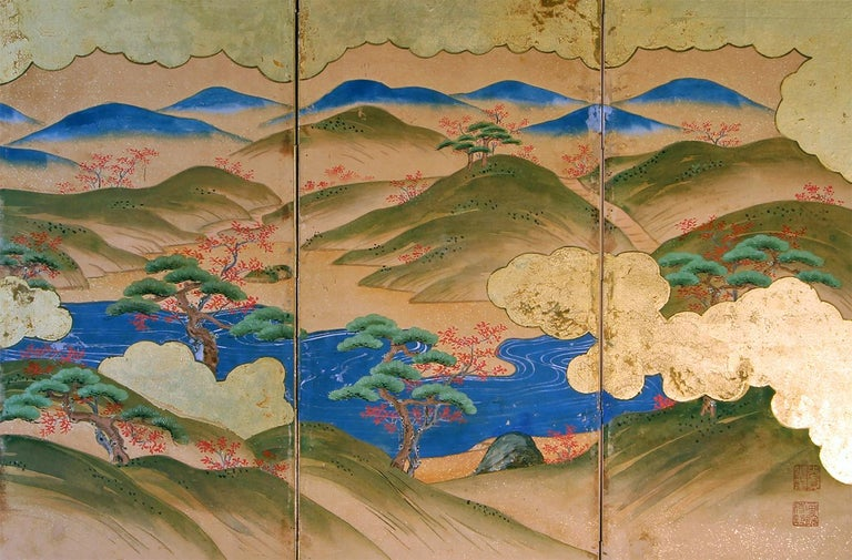 Hand-Painted Japanese Landscape of the 19th Century, Small Six Folding Screen Kano School For Sale