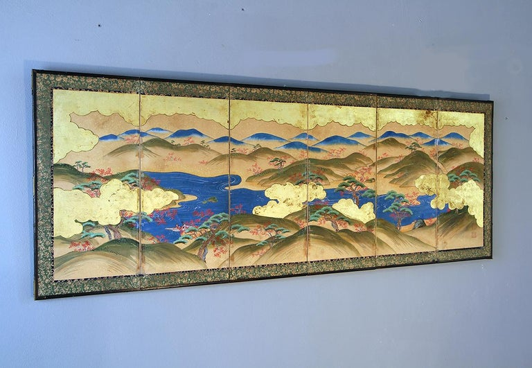 Japanese Landscape of the 19th Century, Small Six Folding Screen Kano School In Good Condition For Sale In Brescia, IT