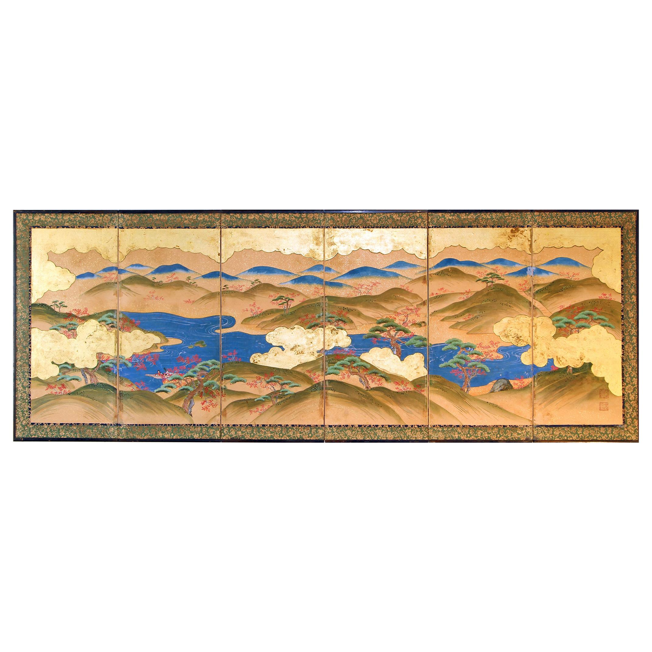 Japanese Landscape of the 19th Century, Small Six Folding Screen Kano School