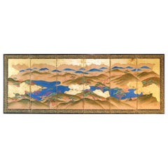 Japanese Landscape of the 19th Century, Small Six Folding Screen Kano School